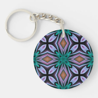 Bold Teal and Purple Floral Pattern Keychain