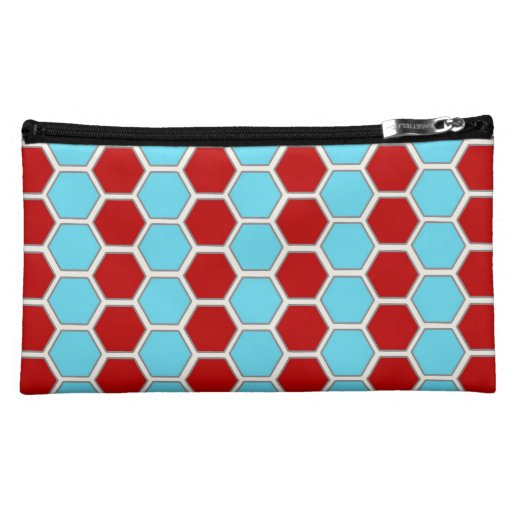 Bold Teal Blue And Red Hexagon Tile Pattern Gifts Cosmetic Bag Zazzle