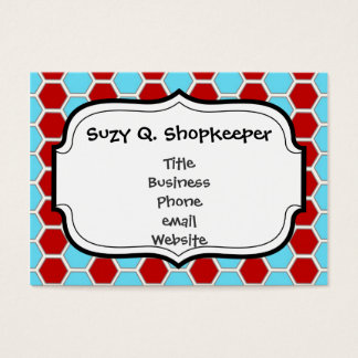 Bold Teal Blue and Red Hexagon Tile Pattern Gifts Business Card