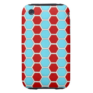Bold Teal Blue and Red Hexagon Tile Pattern Gifts iPhone 3 Tough Cover