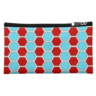 Bold Teal Blue and Red Hexagon Tile Pattern Gifts Cosmetic Bag