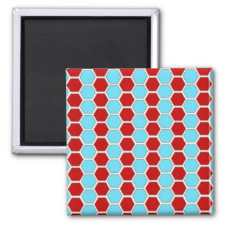 Bold Teal Blue and Red Hexagon Tile Pattern Gifts. Magnet