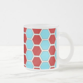 Bold Teal Blue and Red Hexagon Tile Pattern Gifts. 10 Oz Frosted Glass Coffee Mug