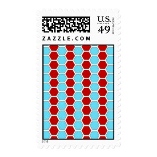 Bold Teal Blue and Red Hexagon Tile Pattern Gifts Stamps