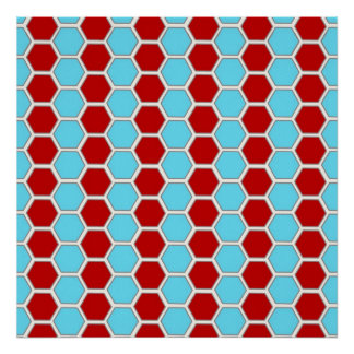Bold Teal Blue and Red Hexagon Tile Pattern Gifts Poster