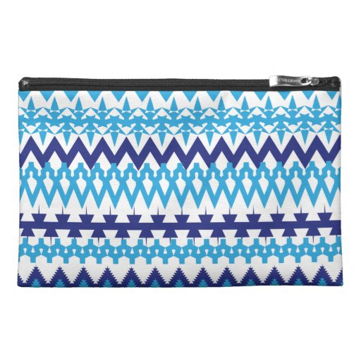 Bold Teal Turquoise Blue Tribal Chevron Pattern Travel Accessories Bag