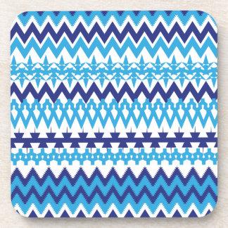 Bold Teal Turquoise Blue Tribal Chevron Pattern Beverage Coaster