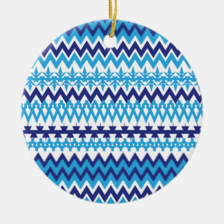 Bold Teal Turquoise Blue Tribal Chevron Pattern Ceramic Ornament