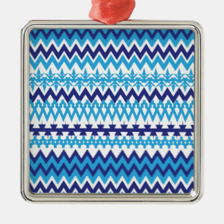 Bold Teal Turquoise Blue Tribal Chevron Pattern Metal Ornament