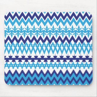 Bold Teal Turquoise Blue Tribal Chevron Pattern Mouse Pad