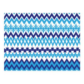 Bold Teal Turquoise Blue Tribal Chevron Pattern Postcard
