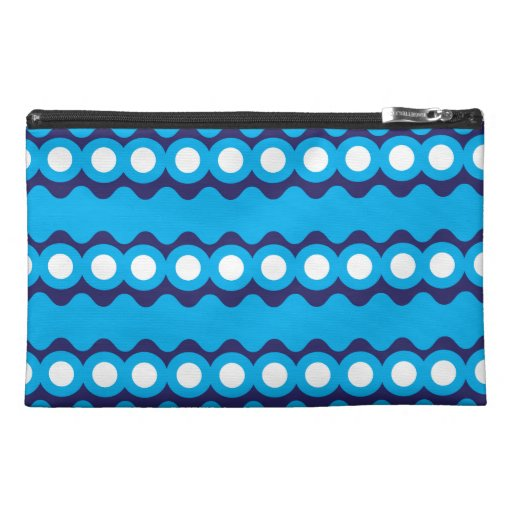 Bold Teal Turquoise Blue Waves and Circles Pattern Travel Accessory Bag