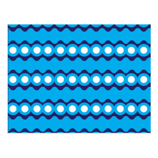 Bold Teal Turquoise Blue Waves and Circles Pattern Postcard