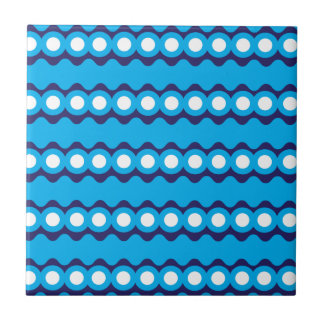 Bold Teal Turquoise Blue Waves and Circles Pattern Tiles