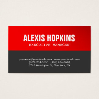 Bold Text Red Grey Stylish Modern Professional Business Card