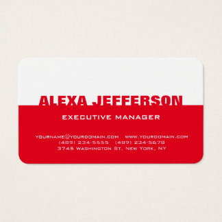 Bold Text Red White Stylish Modern Professional Business Card