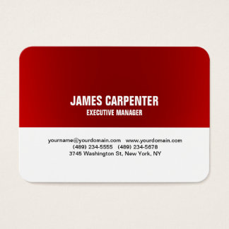 Bold Text Red White Unique Modern Professional Business Card