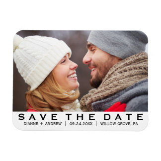 Bold Text Save the Date Photo Magnet