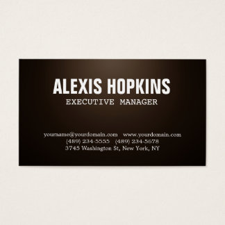 Bold Text Sepia Color Stylish Modern Professional Business Card