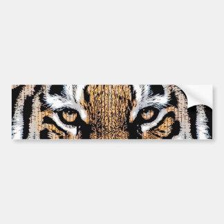 Bold Tiger Portrait Graphic Press Style Bumper Sticker