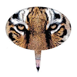 Bold Tiger Portrait Graphic Press Style Cake Topper