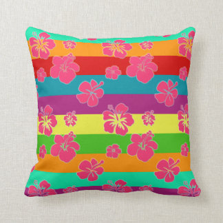 Bold Tropical Colors with Hibiscus Throw Pillow