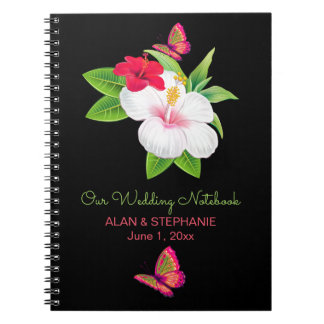 Bold Tropical Hibiscus Butterfly Wedding Notebook