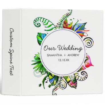 Beach Themed Bold Tropical Palm Leaf Wreath Wedding Photo Album 3 Ring Binder