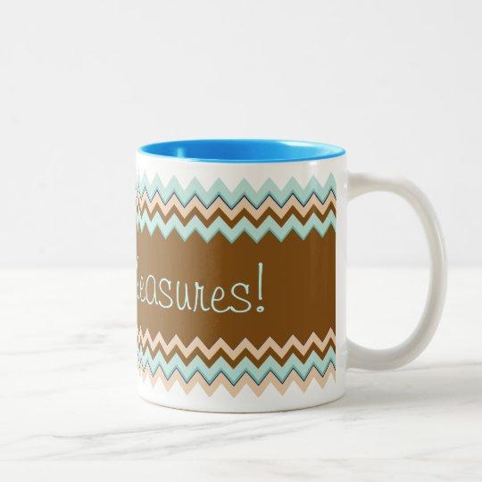 Bold Turquoise Brown Zigzag Two-Tone Coffee Mug