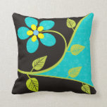 Bold turquoise flower decorative throw pillow