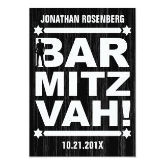 Bold Type Bar Mitzvah Invitation in Black
