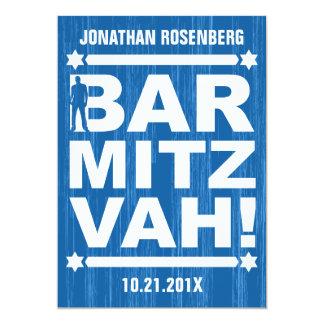 Bold Type Bar Mitzvah Invitation in Blue
