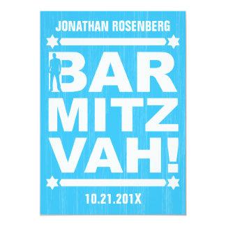 Bold Type Bar Mitzvah Invitation in Light Blue