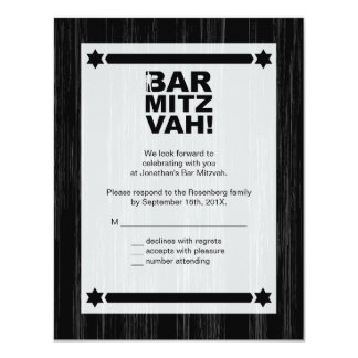 Bold Type Bar Mitzvah Reply Card in Black