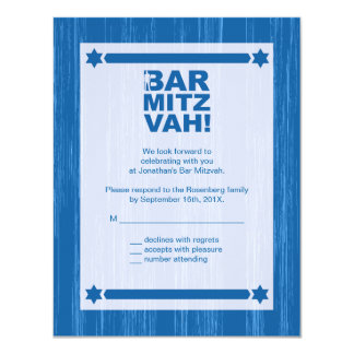 Bold Type Bar Mitzvah Reply Card in Blue