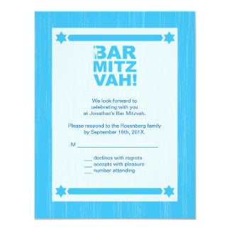 Bold Type Bar Mitzvah Reply Card in Light Blue