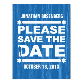 Bold Type Bar Mitzvah Save the Date in Blue Card