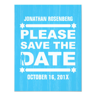 Bold Type Bar Mitzvah Save the Date in Light Blue Card