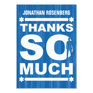 Bold Type Bar Mitzvah Thank You Card in Blue