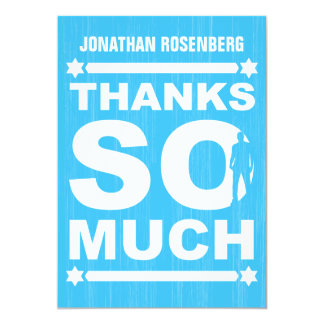 Bold Type Bar Mitzvah Thank You Card in Light Blue