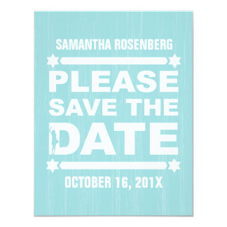 Bold Type Bat Mitzvah Save the Date in Light Teal Card