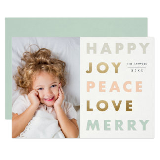Bold type holiday photo card