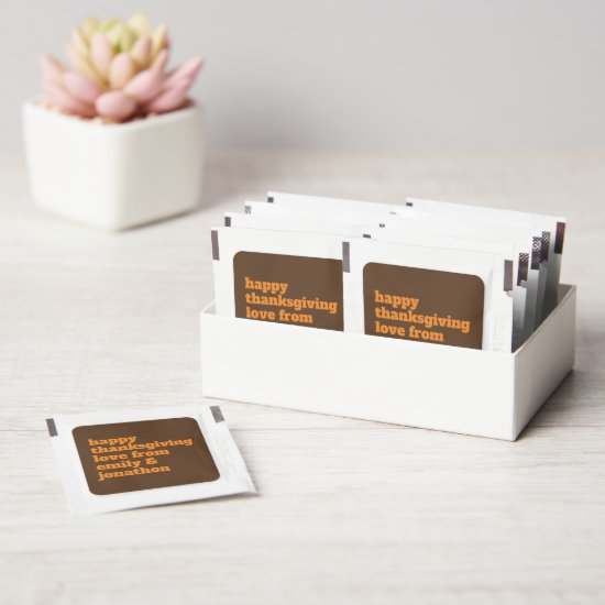 Bold Typographical names happy Thanksgiving Favors Hand Sanitizer Packet