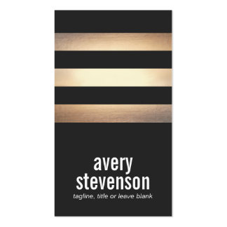 Bold Typography Black and Gold Striped Cool Black Business Card Templates