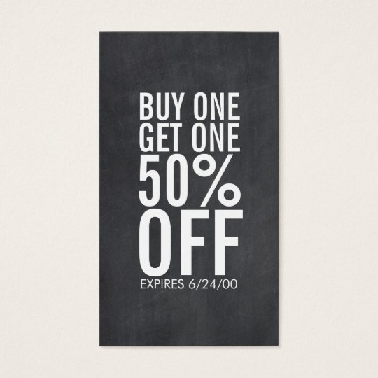 Bold typography discount coupon chalkboard business card zazzle bold typography discount coupon chalkboard business card colourmoves