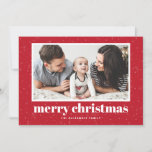"Bold Typography Red Merry Christmas Photo Holiday Card<br><div class=""desc"">Merry Christmas! Celebrate the holidays with this classic holiday flat card. It features retro bold typography and snow and snowflakes pattern on a red background. Personalize by adding names,  greeting and photo.</div>"