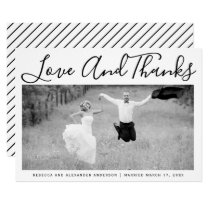 Bold typography Thank You wedding photo Card
