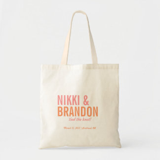 Bold Typography Wedding Announcement Welcome Favor Canvas Bags