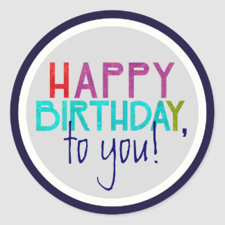 Bold Unisex Happy Birthday Typography Sticker