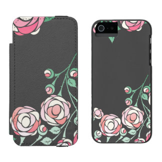 Bold Vector Girly Pink Roses Wallet Case For iPhone SE/5/5s